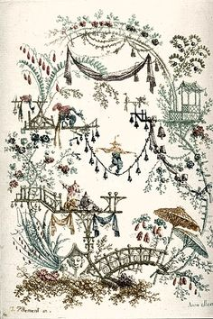 Anne Allen (after Jean-Baptiste Pillement, French,1728-1808) English, dates unknown Chinoiserie Design Color etching printed à la poupée from two plates image size: 195mm x 139mm Museum Purchase: The Lucy Shaw Schultz Fund, 1992.0157