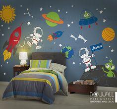 Etiqueta de la pared del espacio planetas astronauta