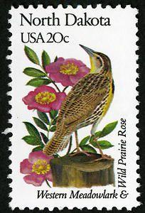 20c North Dakota single, North Dakota State Bird - Western Meadowlark AND North Dakota State Flower - Wild Prairie Rose