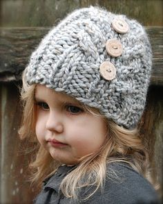 Knit toddler girls hat pattern - dress up a knit hat or hide a seam with chunky buttons.  So cute!