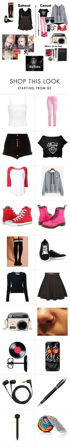 """""""Ren **Death Note OC**"""" by kark1tty ❤ liked on Polyvore featuring River Island, Frame, WithChic, Converse, Dr. Martens, Vegetarian Shoes, Victoria Beckham, New Look, Sennheiser and Montblanc"""