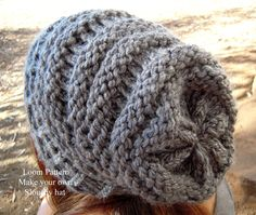 Women's slouchy hat knifty knitter loom pattern by AvaGirlDesigns on Etsy
