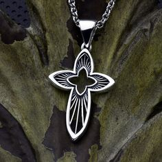 Star Burst - Sterling Silver Contemporary Christian Cross Necklace Pendant David Daffer Designs  #daviddafferdesigns Sterling Silver Cross, Box Chain, Jewelery, Two By Two, David, Cut Outs, Clean Lines, Pendants, Christian