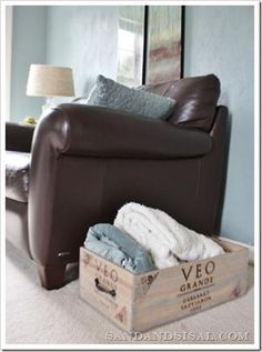 Wine Crate Storage For Blankets And Throw Pillows