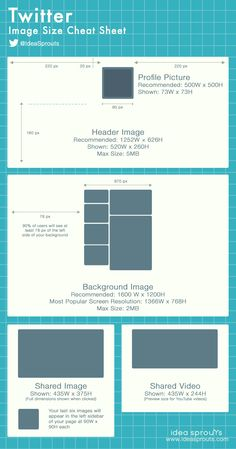 Twitter Image Size Cheat Sheet - a cheat sheet for the different images you need for your Twitter profile and for sharing #socialmedia