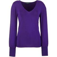 Lauren by Ralph Lauren V-Neck Top, Purple ($125) ❤ liked on Polyvore
