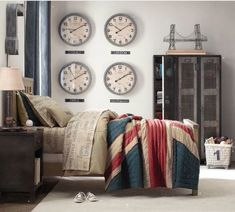 Vintage boys bedroom with travel theme. Love the clocks, lockers and muted color scheme.