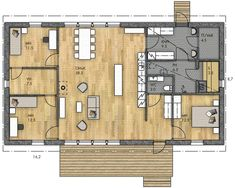 LATO 189 - Kannustalo Family House Plans, Retro Home, Floor Plans, Layout, How To Plan, Architecture, Sims 4, Building, Apartments