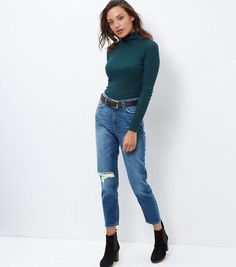 Blue Ripped Knee Mom Jeans  | New Look