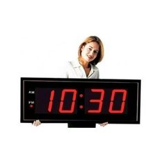 Oversized Digital Large Wall Clock 8 Inch Red LED Display Remote Control Room #BigTimeClocks
