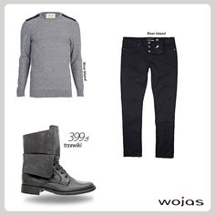 Trzewiki Wojas z wywijanymi cholewkami (3255-51) to modny element casualowej stylizacji. Obuwie doskonale komponuje się ze swetrem w odcieniach szarości oraz czarnymi prostymi spodniami.
