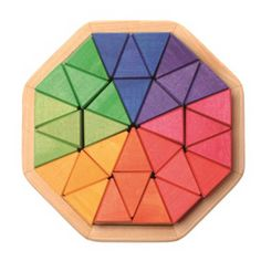 Grimm's Toys at Babipur. This wooden octagon puzzle from Grimm's contains 32 chunky triangle blocks in a range of rainbow colours that are perfect for building with, making patterns and using in a variety of other creative ways, such as colour sorting or Wooden Block Puzzle, Wooden Puzzles, Wooden Blocks, Grimm's Toys, Water Based Stain, Natural Toys, Natural Play, Letter B, Wood Toys