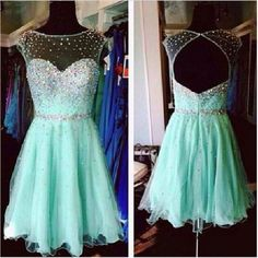 A-line Illusion Neck Mint Tulle Beaded Backless Homecoming Dresses,Hot 50