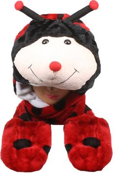 Wholesale Ladybug Animal Winter Hat With Mittens (Case of 12)