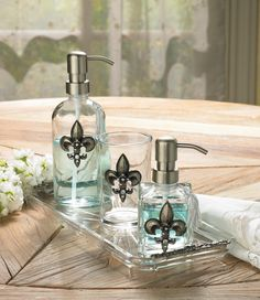 3-Piece Silver Fleur de Lis Bathroom Accessory Set -