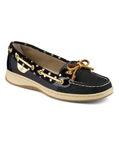 Loving this Black Foil Dot Angelfish Leather Boat Shoe on #zulily! #zulilyfinds