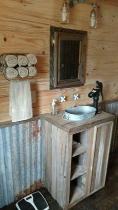 bathroom design ideas rustic house 50 Decorative Rustic Storage Projects For a Beautifully Organized Home Barn Bathroom, Diy Bathroom, Small Bathroom, Bathroom Ideas, Bathroom Mirrors, Bathroom Cabinets, Outhouse Bathroom, Bathroom Storage, Cabin Bathroom Decor