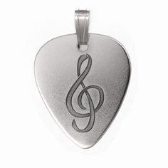 PuasdePlata.com - Púas de Plata - PÚASdePLATA COLGANTE -  Colgante PÚA de PLATA CLAVE SOL (Silver Guitar Pick Pendant)