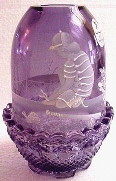 Fenton Mary Gregory Fairy Lamp