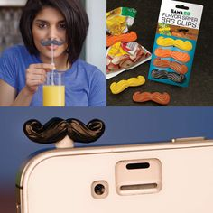 Stache Pack - 4 potato chip clips, mustache figurine that fits into any iPhone's audio jack and 6 reusable mustache straws.