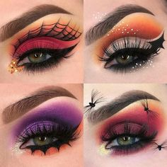Looking for for inspiration for your Halloween make-up? Browse around this website for creepy Halloween makeup looks. Cute Halloween Makeup, Halloween Makeup Looks, Halloween Eyeshadow, Makeup Eye Looks, Eye Makeup Art, Beauty Makeup, Disney Eye Makeup, Fairy Makeup, Skull Makeup