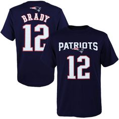 Tom Brady New England Patriots Youth Navy Blue Primary Gear Name & Number…