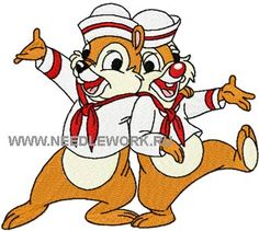Chip & Dale happy together machine embroidery design