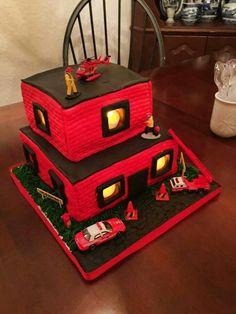 House on fire cake.