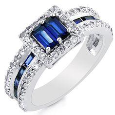 Blue & White Sapphire Ring