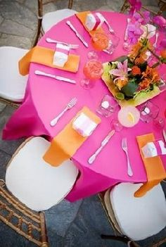 this is how my tables are going to look  but lime green and orange