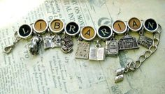 A charm bracelet for the librarian/library lover. bracelet features nine silver toned pewter book & literary themed charms: four book charms; both open & closed, a librarian, a library building, a library lion, a fashion magazine and a newspaper. Old Fashioned Typewriter, Librarian Style, Sexy Librarian, Diy Jewelry, Jewelry Making, Bling Jewelry, Jewelry Ideas, Jewlery, Typewriter Keys