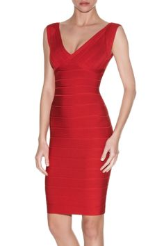 Herve Leger - Karima Signature Bandage Dress in Lipstick Red