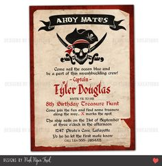 Pirate invitations wording pirate party invitation wording pirate invitation customizable wordings and by pinkpapertrail 1500 filmwisefo