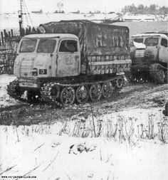 Several Steyr RSO artillery transporters on the move in winter conditions