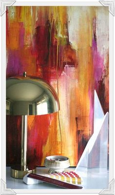 Lovely #painting #abstract #colors #interior #styling #lighting #lamp