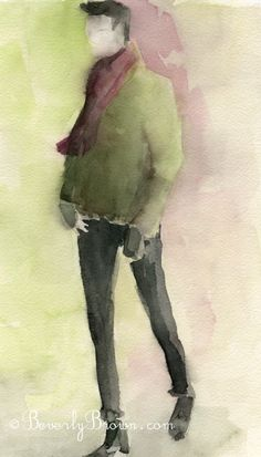 Watercolor Fashion Illustration - Man in Black Pants + Green Sweater by Beverly Fleur Brown