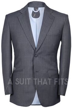 Light, Grey Distinguished 2-Piece Suit with light blue lining.