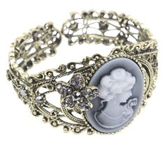 Kobwa(TM) Queen Statue Hollow Out Carving Maiden Cuff Bangle Cameo Bracelet with Kobwa's Keyring