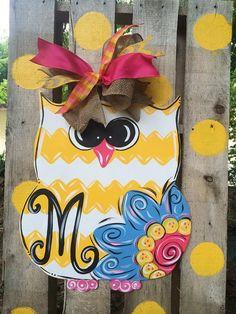 Chevron Owl Door Hanger by WhimsyGirlArt on Etsy, $38.00