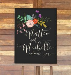 Wedding Welcome Sign with Bright Flowers and by MDBWeddings