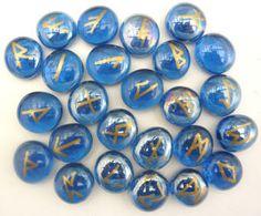 Sapphire Colored Glass Rune Set