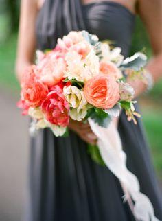 Marta Locklear | coral bridesmaid bouquet #gray