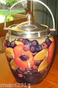 MOORCROFT POMEGRANATE BISCUIT BARREL SILVER PLATE FITTINGS 23CM TALL TO HANDLE