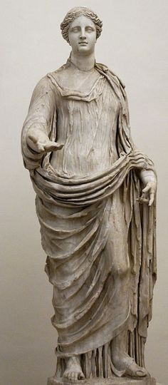 Demeter. Coarse-grained marble, Roman artwork; the head is a modern restoration. National Museum of Rome - Palazzo Altemps