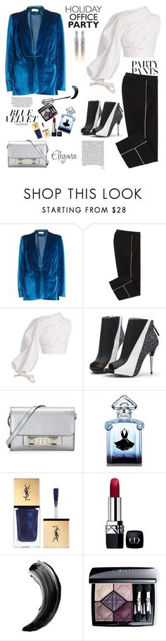 """""""Holiday Office Party"""" by ellie366 ❤ liked on Polyvore featuring self-portrait, Jacquemus, Proenza Schouler, Guerlain, Christian Dior, Oscar de la Renta, booties, minibags, waystowear and partypants"""