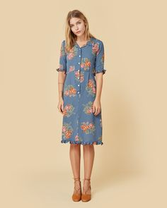The Milly Dress Teal Floral