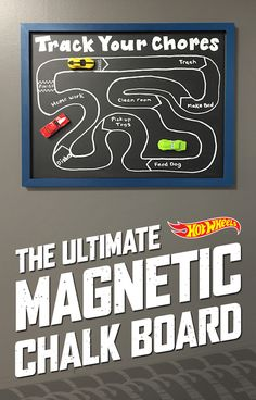 Use a chalkboard, chalk pens, and magnets hot cars to create a Chore Track. Great idea!