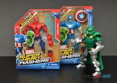 Marvel Super Hero Mashers Captain America, Spider-man & Dr Doom ...