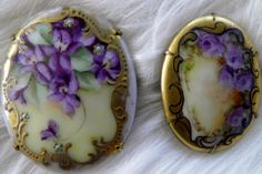 2 Vintage Porcelain Pin, Hand Painted with Violets, Brooch, Purple Flowers.  via Etsy.