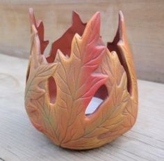 Maple Leaf Candle Holder by TeresasCeramics on Etsy